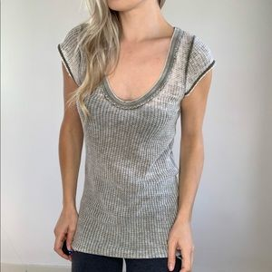 Free People Soft Waffle Knit Burnout Green Tee M